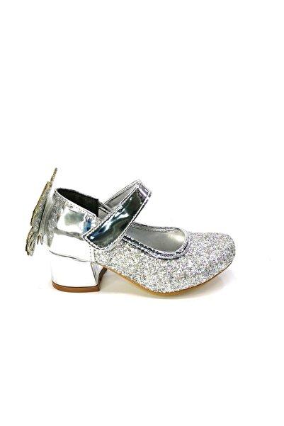 Azra Kız Çocuk Bilekten Bantlı Simli  Gümüş Topuklu Ayakkabı 26-36