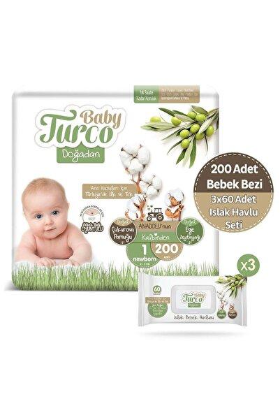 Baby Turco Doğadan 1 Numara Newborn 200 Adet + 3x60 Doğadan Islak Havlu Seti