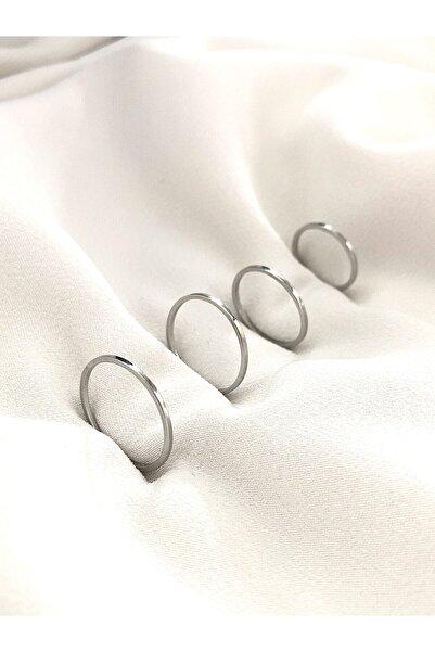 The Y Jewelry Kadın Gümüş Renk 4lü Eklem Yüzük