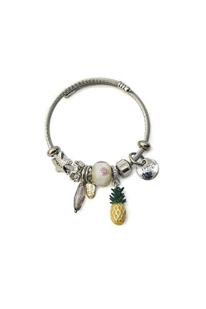 Marjin Kadın Beyaz Taşlı Ananas Figürlü Gümüş Renkli Bilezikbeyaz