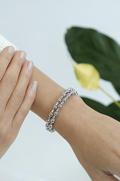Marjin Kadın Dorika Toplu Çift Sıralı Gümüş Renkli Bilezikgümüş