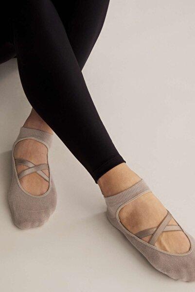 Oysho Kadın Koyu Mavi 2 Çift Pamuklu Yoga Ve Pilates Çorabı 32808490