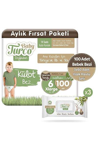 Baby Turco Doğadan Külot Bez 6 Numara Xlarge 100 Adet + 3x60 Doğadan Islak Havlu Seti