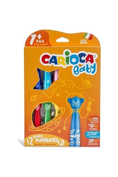 CARIOCA Unisex Çocuk Turuncu Baby Teddy Jumbo Bebek Süper Yıkanabilir Keçeli Boya Kalemi 12'li 42816