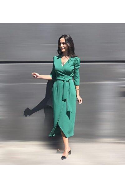 AYHAN Yeşil Kruvaze Elbise