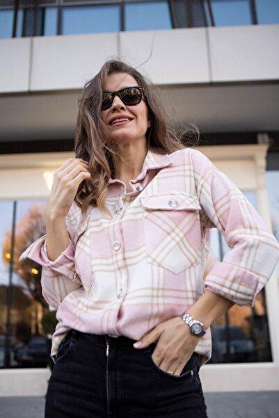 Sue Store Toz Pembe Oduncu Gömleği