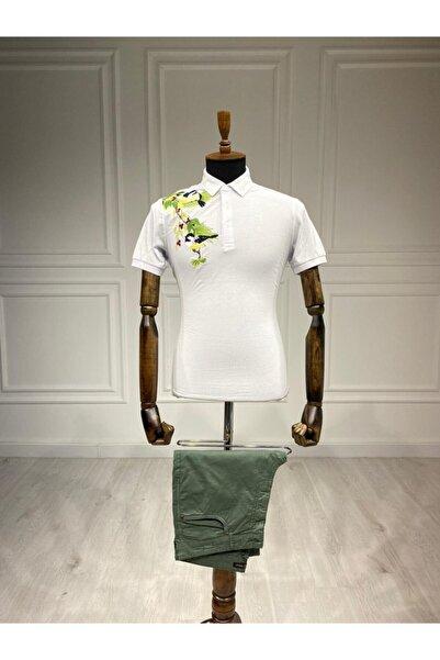 Sarar Interview Nakışlı Polo Yaka Beyaz T-shirt