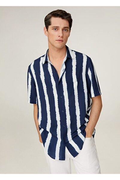 MANGO Man Erkek Lacivert Batik Çizgili Dökümlü Gömlek 77030002
