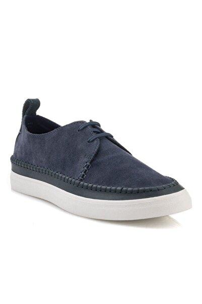 CLARKS Erkek Mavi Bağcıklı Oxford Ayakkabı