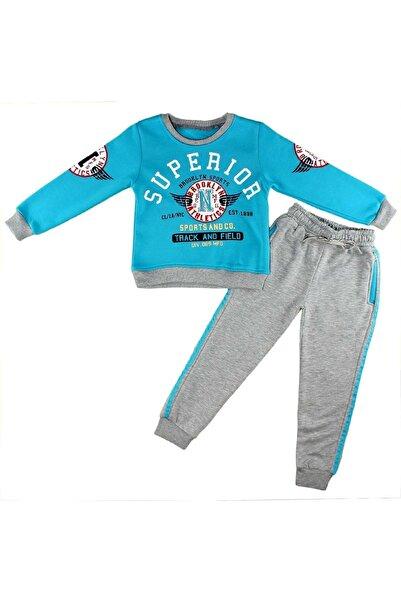 Babyboy Erkek Çocuk Superıor Baskılı Simit Yaka Kalın Kışlık Kumaş Eşofman Takımı
