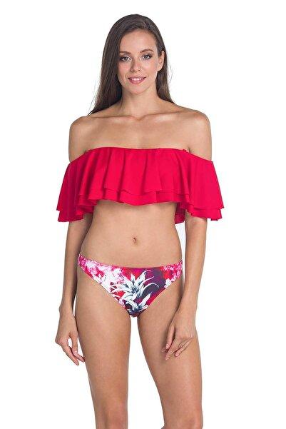 Dagi Kadın Kırmızı Volanlı Altı Desenli Bikini Takımı