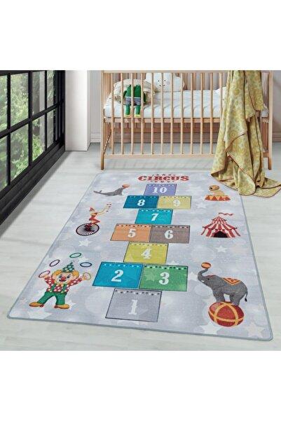 AYYILDIZ Çocuk Bebek Odası Oyun Halısı Sirk Ve Seksek Temalı Gri Tonlarda