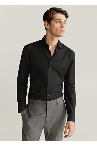 MANGO Man Erkek Siyah Dar Kesim Tailored Pamuklu Gömlek