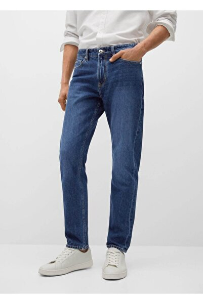 MANGO Man Düz Kesimli Koyu Renk Bob Jean Pantolon