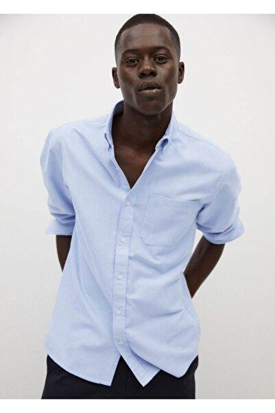 MANGO Man Erkek Mavi Dar Kesim Pamuklu Gömlek