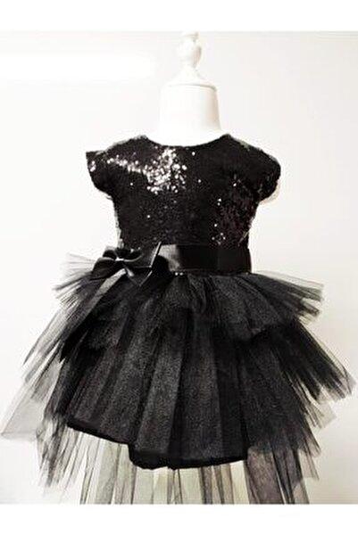 Kız Çocuk Siyah Tüllü Pul Payetli Parti Elbisesi