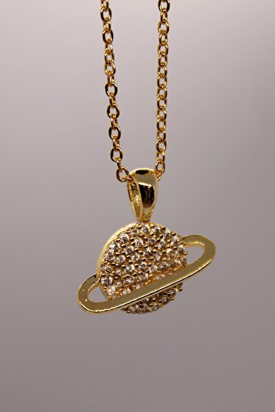 ZİRKONTAŞ Kadın Gold Zirkon Taş Satürn Kolye