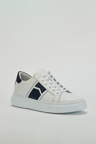 MUGGO Erkek Beyaz Hakiki Deri Sneaker Ayakkabı Mgdijon02