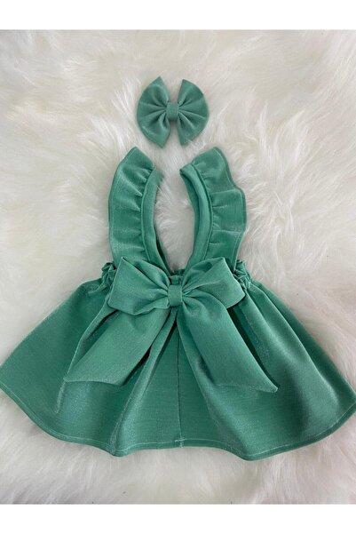 Moda Lina Su Yeşili Simli Salopet Bandana Set