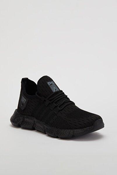 MUGGO Erkek Siyah Lastik Sneaker Metz02