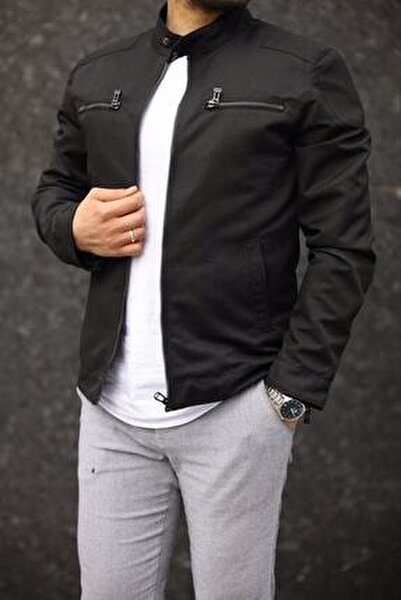Erkek Siyah Renk Fermuar Detay Baharlık Ceket