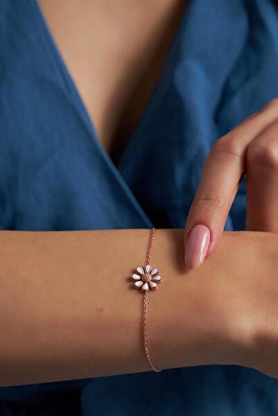 Ninova Silver Ninova Papatya Model Mineli Rose Kaplama Gümüş Bileklik