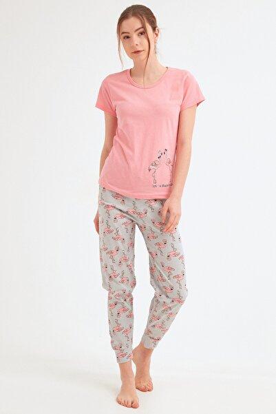 Fulla Moda Kadın Pembe Flamingo Baskılı Pijama Takımı
