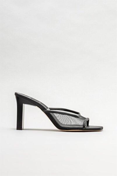 Elle Shoes Kadın Siyah Topuklu Terlik