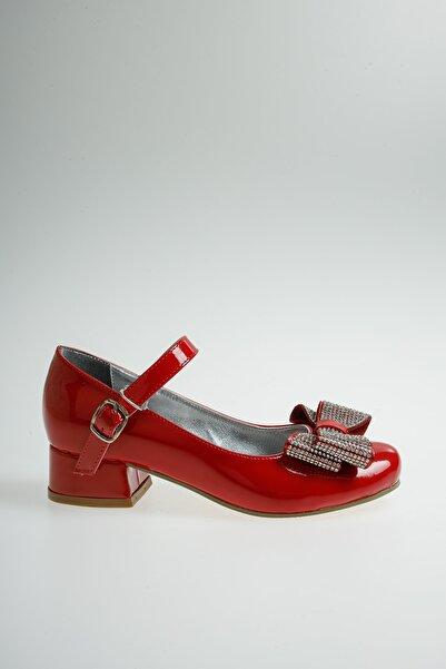 Ramer Kız Çocuk Kırmızı Rugan Fiyonklu Taşlı Abiye Ayakkabı