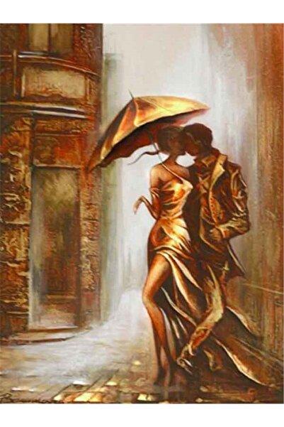 MOVAS Sanat Yağmur Altında Dans Eden Çift Elmas Mozaik Tablo / Elmas Mozaik 40x60cm E20202471m