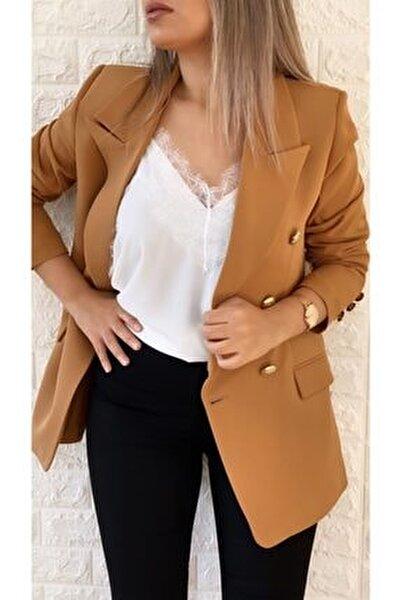 Gold Düğmeli Blazer Ceket Camel