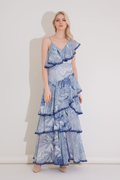 xGIZIA Şerit Detaylı Fırfırlı Uzun Mavi Şifon Elbise