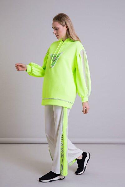 GIZIA SPORT Kapüşonlu Oversize Neon Sarı Scuba Sweatshirt
