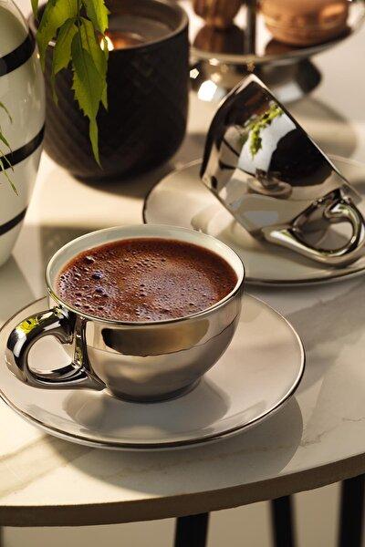 Kütahya Porselen Stella Kahve Takımı Platin Kaplama