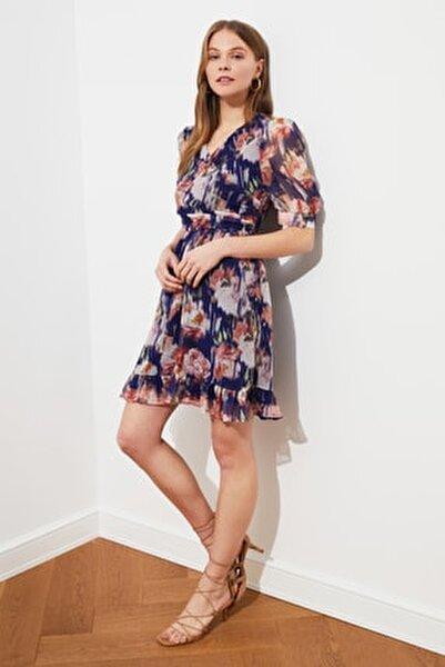 Lacivert Kruvaze Yaka Desenli Elbise TWOSS21EL1672