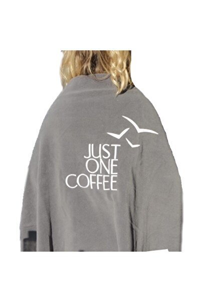 Just One Coffee Polar Şal Beyaz Logolu