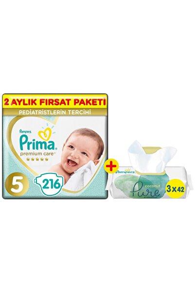 Prima Bebek Bezi Premium Care 5 Beden 216'lı 2 Aylık Fırsat Paket + Pure 3'lü Islak Havlu 126 Yaprak