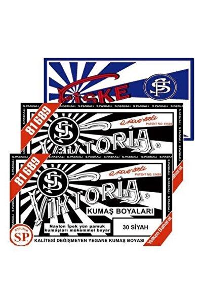 Viktoria Kumaş Boyası Siyah 2 Paket + Fiske Sabitleme 1 Paket