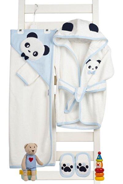 Sarebaby Sevimli Panda Erkek Bebek Bornoz Takımı Yeni Sezon