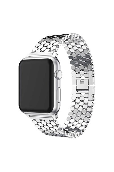 zore Apple Watch 4 44mm Hegzagonal Tasarım Şık Metal Gövdeli Kordon