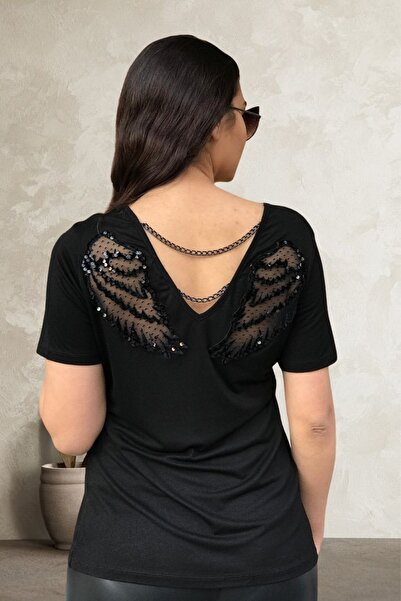 MODANİCE Kadın Siyah Sırtı Kanat Aplike Ve Zincirli Bluz