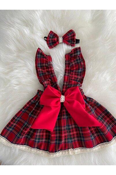 Moda Lina Kız Bebek Kırmızı Ekose Salopet Bandana Set