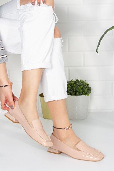 Alessia Shoes Kadın Ten Kırışık Rugan Topuklu Casual Ayakkabı