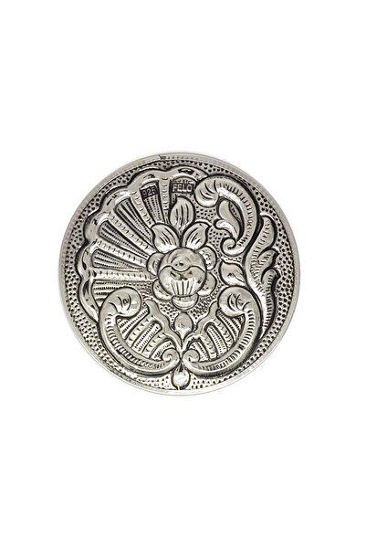 Altın Sepeti Yuvarlak Gümüş Küçük El Aynası