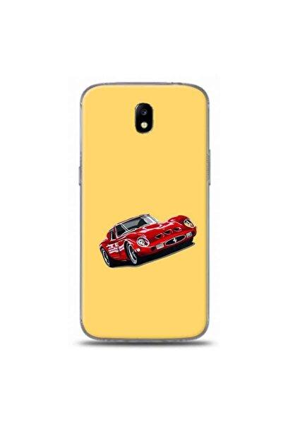 Desing World Samsung Galaxy J7 Pro Uyumlu Sarı Zemin Ferrari Tasarımlı Telefon Kılıfı Rb62