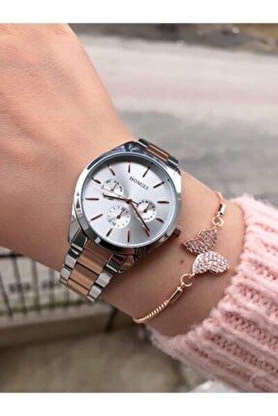 Kadın Gümüş Rose Saat + Bileklik