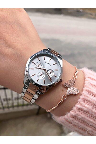 Homies Kadın Gümüş Rose Saat + Bileklik