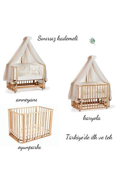EGEBABY Ege Baby 2021 Collection Vernikli 3 In 1 Beşik(70x110) -bej Nakışlı Çift Tüllü Uyku Setiyle
