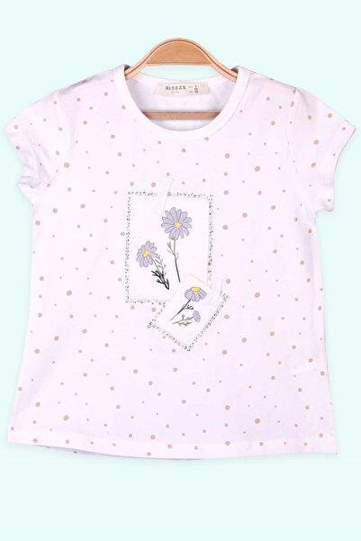 Breeze Kız Çocuk T-Shirt Çiçek Portreli Ekru (2-6 Yaş)
