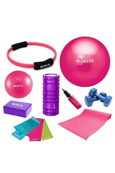 Delta 75-25cm Pilates Topu Minderi Foam Roller Yoga Blok Bant Set